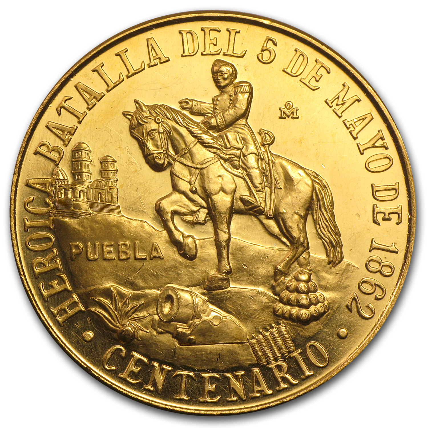 1962 Mexico Gold Cinco De Mayo Medal BU